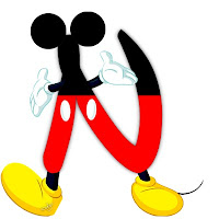 Original alfabeto inspirado en Mickey Mouse N.