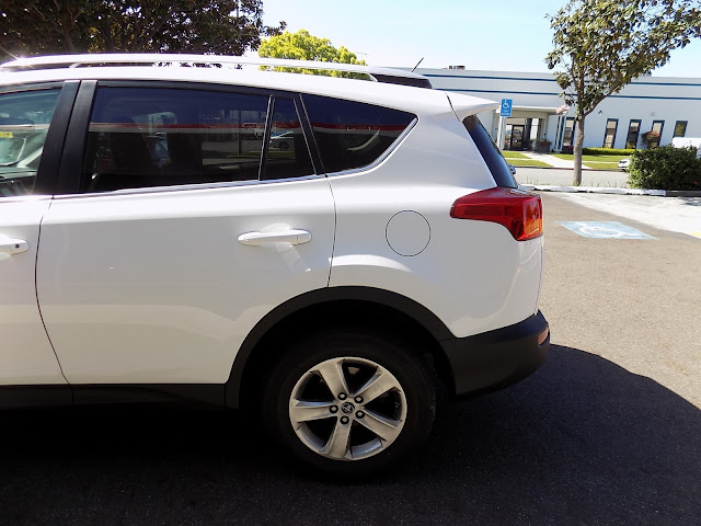 Collision damage on 2015 Toyota RAV4 after repairs at Almost Everything Auto Body.