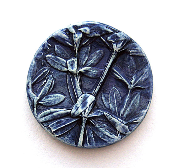 Handmade Ceramic Cabochon Cobalt Blue Wild Leaves by Mary Harding