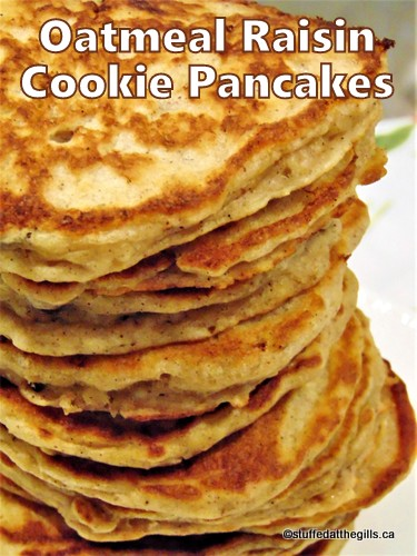Oatmeal Raisin Cookie Pancakes stacked up high.