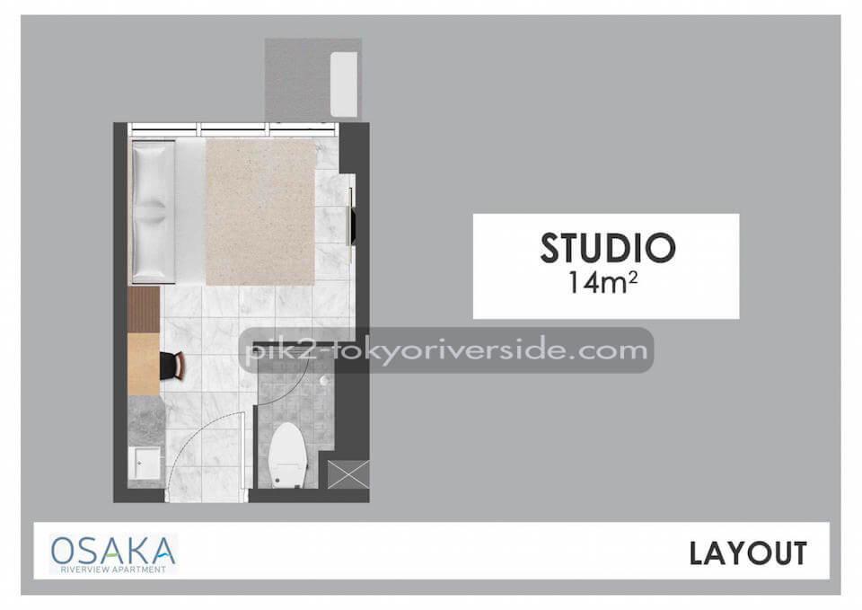 Tipe Studio Apartemen Osaka Riverview PIK 2