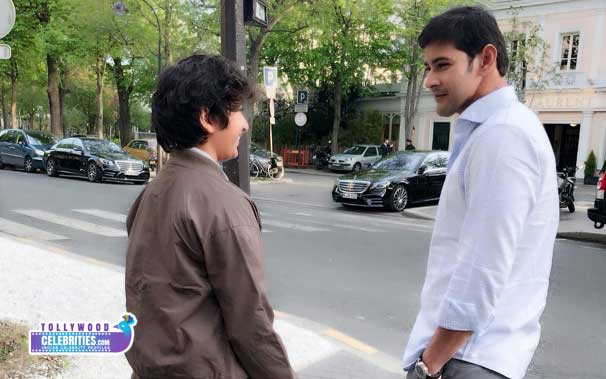 Mahesh Babu with Gautham Krishna during Paris Tour