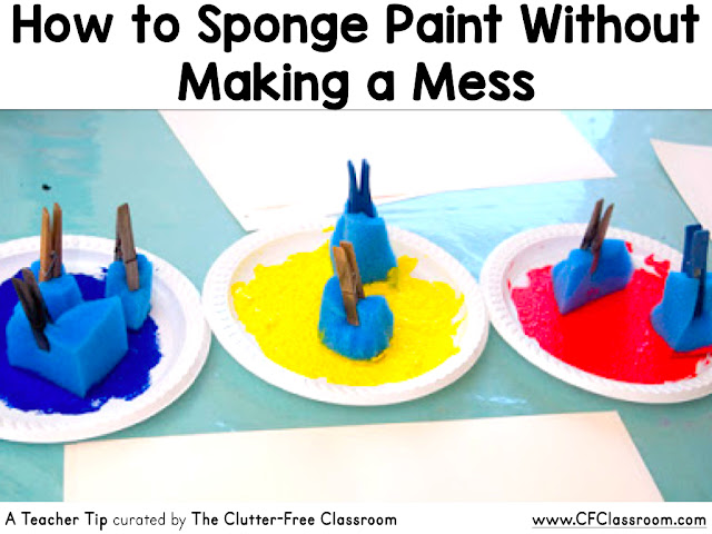 Do you love to spongepaint in the classroom, but hate the mess? This teacher tip will be helpful to preschool  and kindergarten teachers as well as home school families.