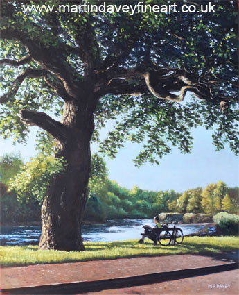 oil painting Southampton Riverside park oak tree with cyclist