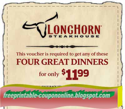 image relating to Longhorn Steakhouse Printable Coupons identify Longhorn Discount coupons Printable April 2017 Very similar Keyword phrases