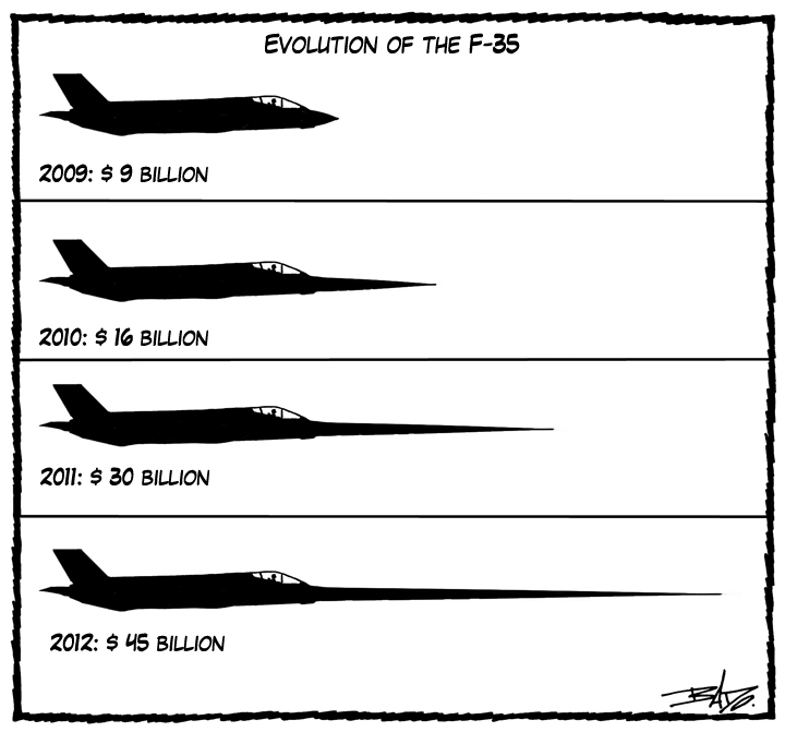 Oh the lies cartoon The F35 is a pointless waste of $24 BILLION - contractor estimate