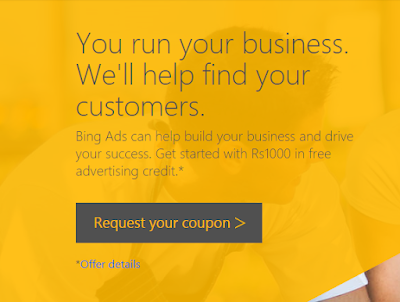 Get Rs.1000 Free Bing Ads Credits Coupon Code
