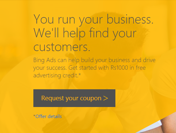 Get Rs.1000 Free Bing Ads Credits Coupon Code For New Customers - Sept 2015