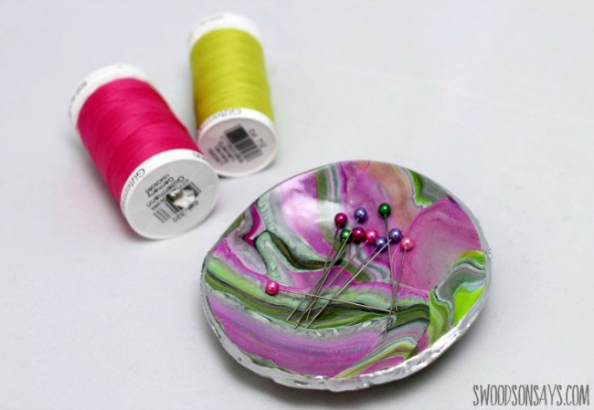 Clay craft ideas for kids. Magnetic pin bowl made from polymer clay.