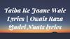 Taiba Ke Jaane Wale Lyrics | Owais Raza Qadri Naats lyrics