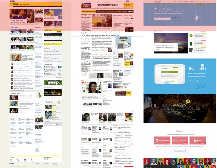 Area on various websites highlighted to show content above the fold