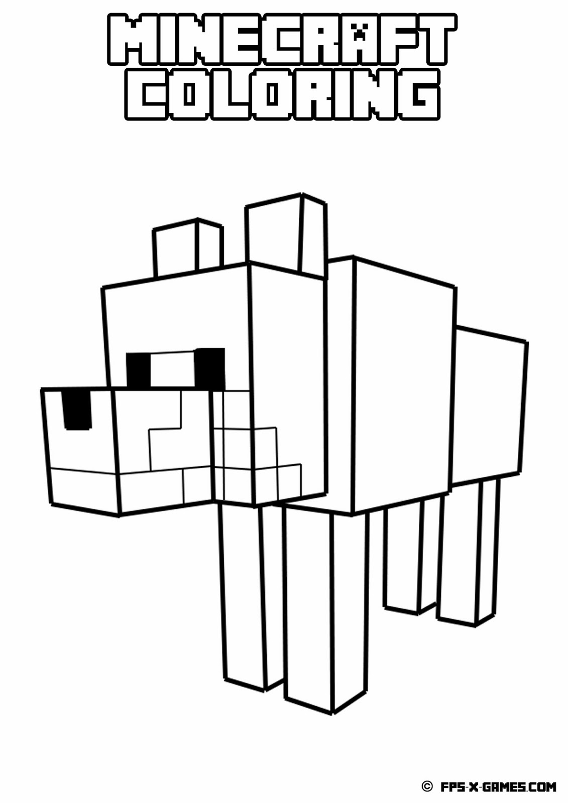 minecraft bookmark template - printable minecraft coloring tamed wolf