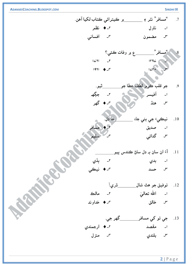 neki-multiple-choice-questions-sindhi-notes-for-class-9th