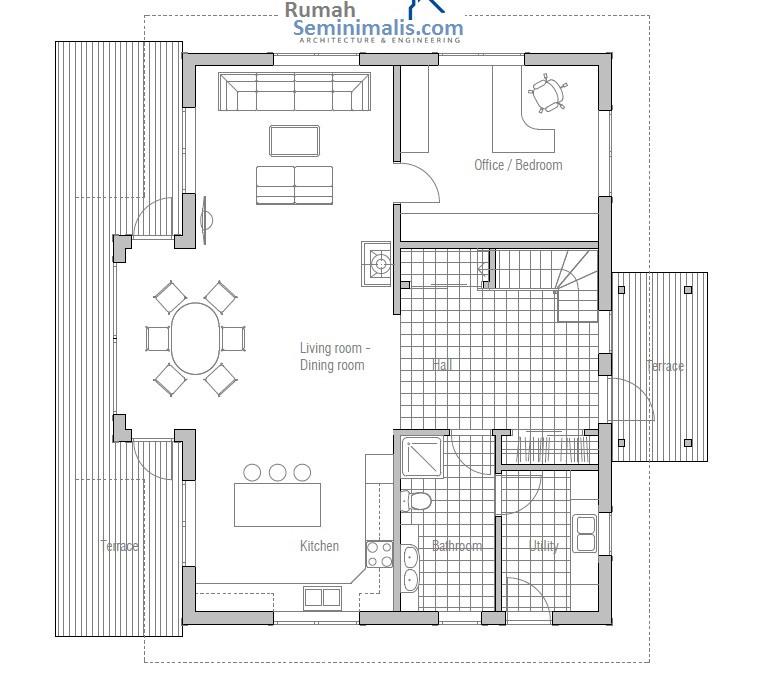 Denah Model Desain Gambar Rumah Minimalis Idaman Sederhana Tipe 40