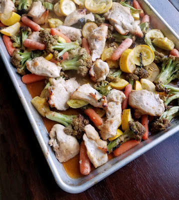 sheet pan of honey garlic chicken and veggies fresh from oven