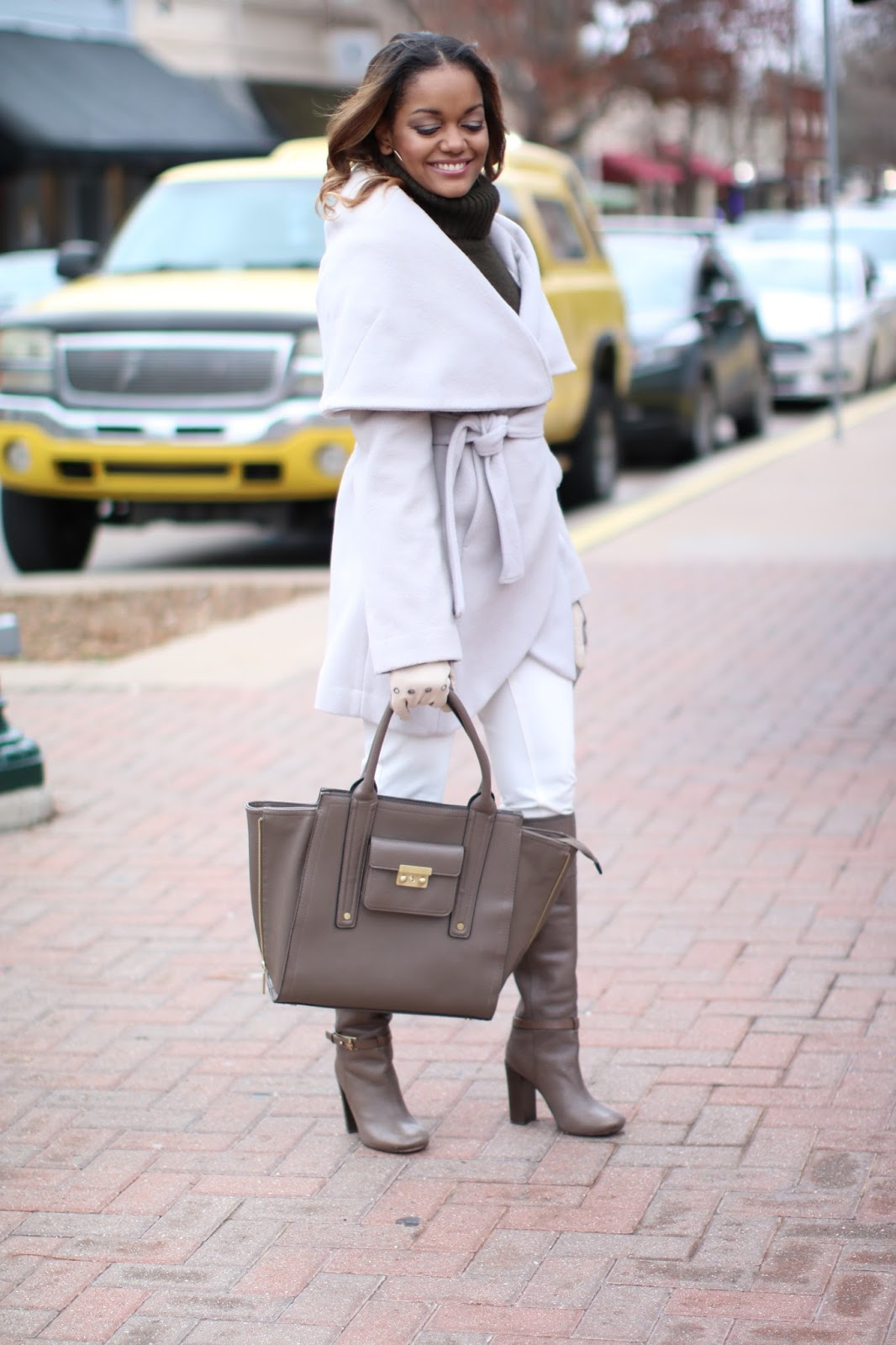 tahari shawl collar coat, shawl collar coat, henri bendel moto gloves, Olivia Pope style,philip lim for target handbag, tory burch boots, taupe boots, wear white in winter, winter fashion, fashion blogger, dallas blogger, black girl blogger, how to wear neutrals