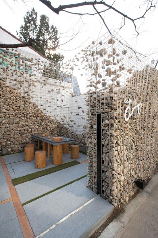 desain cafe unik dengan bronjong gabion