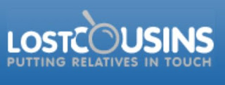 Lost Cousins logo with a magnifying glass in place of the O of Cousins. Underneath 'Putting Relatives in Touch'.