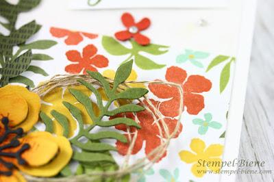 Stampin up botanical blooms: Stampin Up Botanischer Garten; Geburtstagskarte Botanischer Garten; Stempel-Biene; Stampinup Rabatte; Match the sketch
