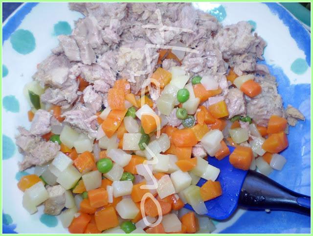 Ensaladilla rusa con verduras al vapor