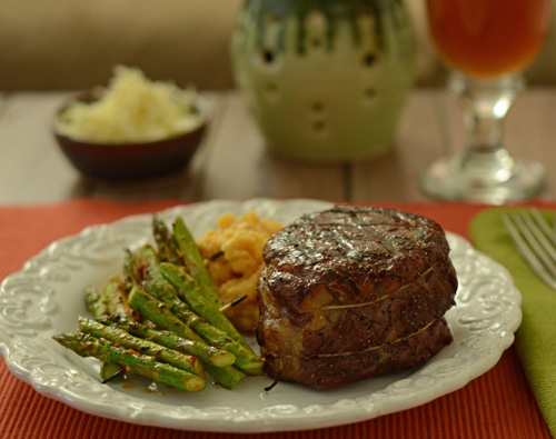 Grilled Manhattan Beef Filet with Cajun Sauce, Big Green Egg steak recipe, kamado grill steak recipe