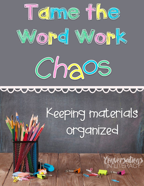 Keeping word work materials organized