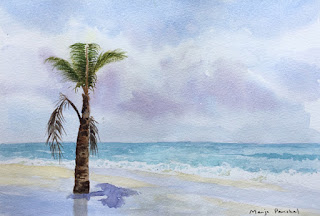 A water colour painting of a palm tree at Benaulim beach, Goa by Manju Panchal