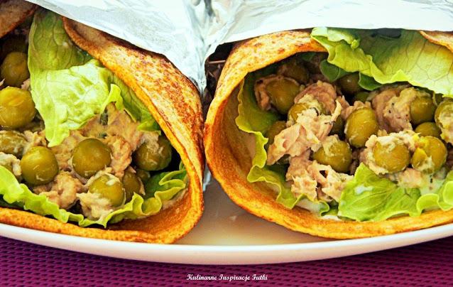Pełnoziarniste wrapy naleśnikowe z groszkiem i tuńczykiem