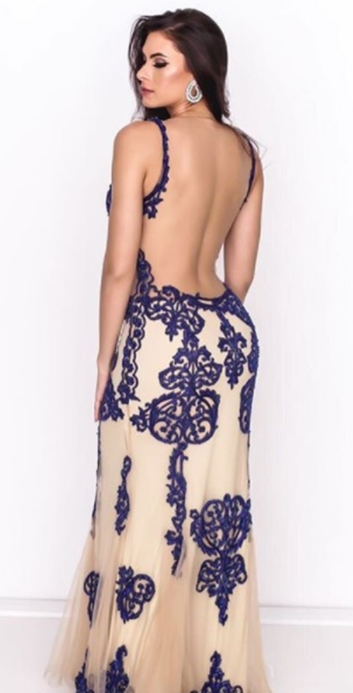 vestido de festa azul