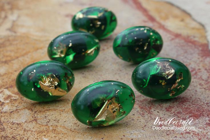Doodlecraft: DIY: Gold Leaf and Emerald Resin Cabinet Knobs