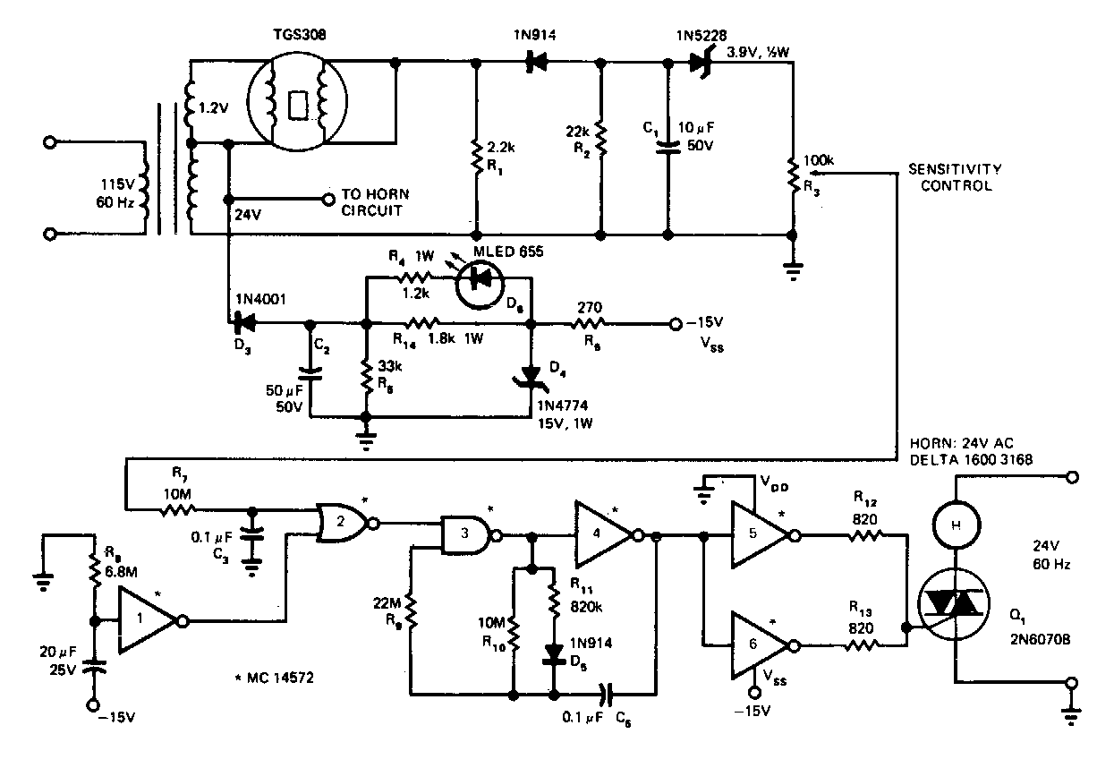 Simple Gas Smoke Detector Circuit Diagram