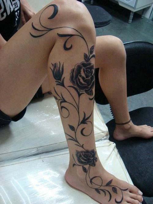woman leg black rose tattoo kadın bacak siyah gül dövmesi