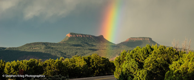 Bears Ears panorama with rainbow, San Juan County, Utah.