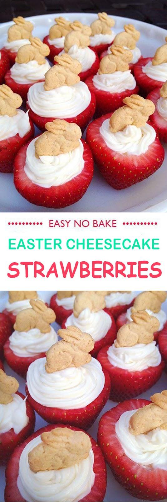 Easy No Bake Easter Cheesecake Strawberries