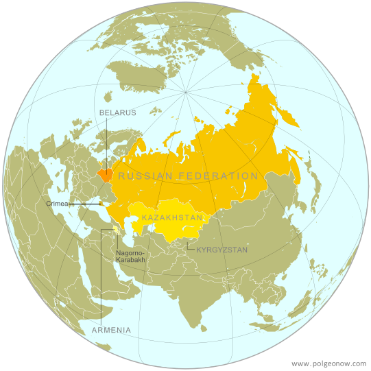 Map of the Eurasian Economic Union (EEU), also known as the Eurasian Union. Includes new member Armenia, as well as prior members Russia, Belarus, and Kazakhstan, and disputed territories Crimea and Nagorno-Karabakh, as well as acceding member Kyrgyzstan.