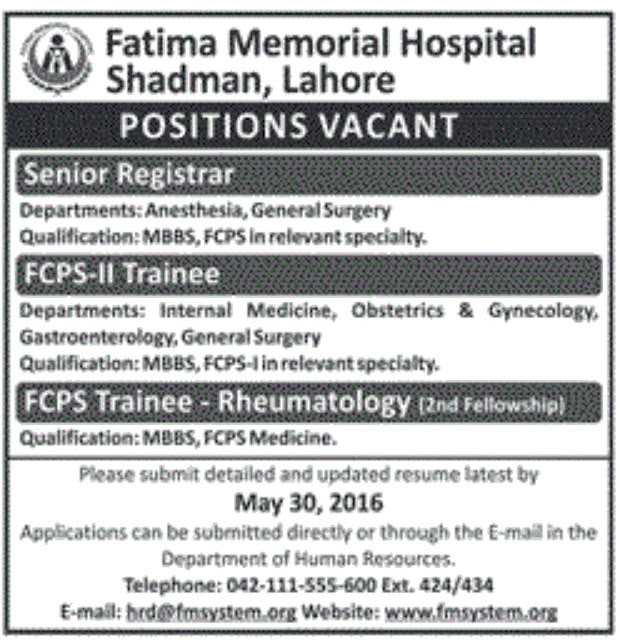 MBBS Doctors Fatima Memorial Hospital Shadman Lahore