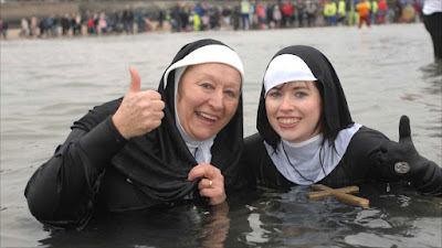 nuns swimming