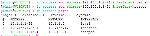 Berikan IP pada interface Internet & Hotspot
