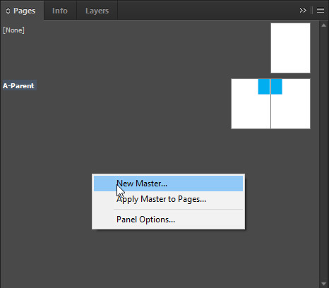 Create new master page in indesign
