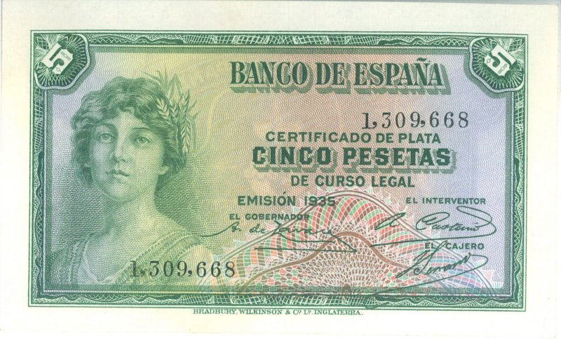 5 Pesetas With An Allegory Of The Republic Printed In 1935