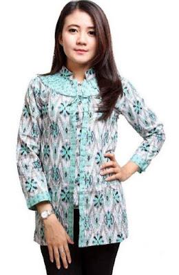 Model Baju Batik Atasan Kerja Wanita modern