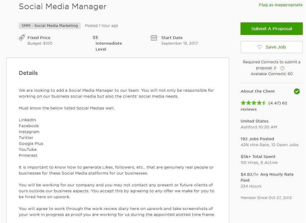 Upwork Cover Letter Sample for SMM (Social Media Marketing) - Upwork - social media marketing job description