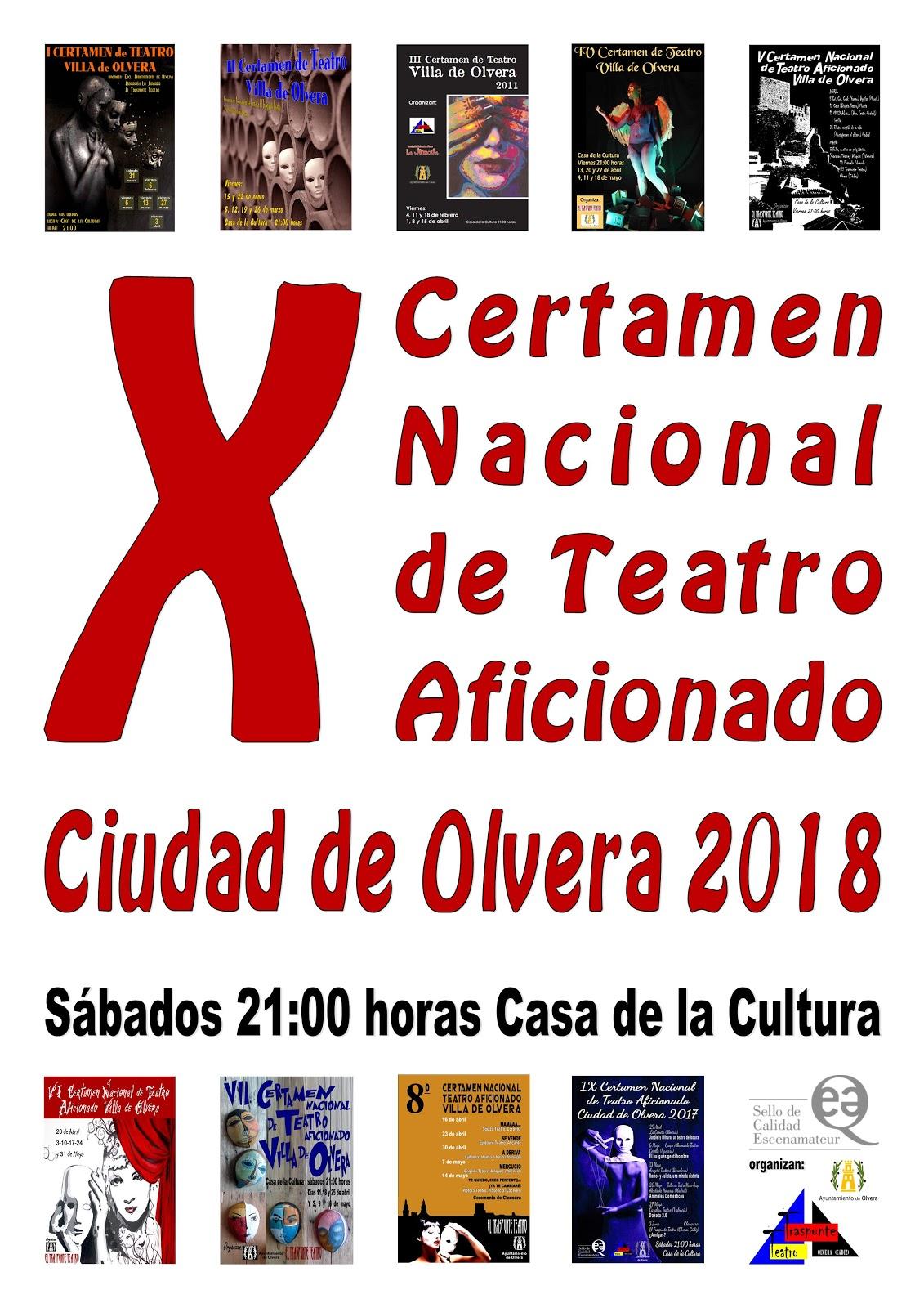 Inscripciones recibidas X Certamen Nacional de Teatro Aficionado Ciudad de Olvera 2018