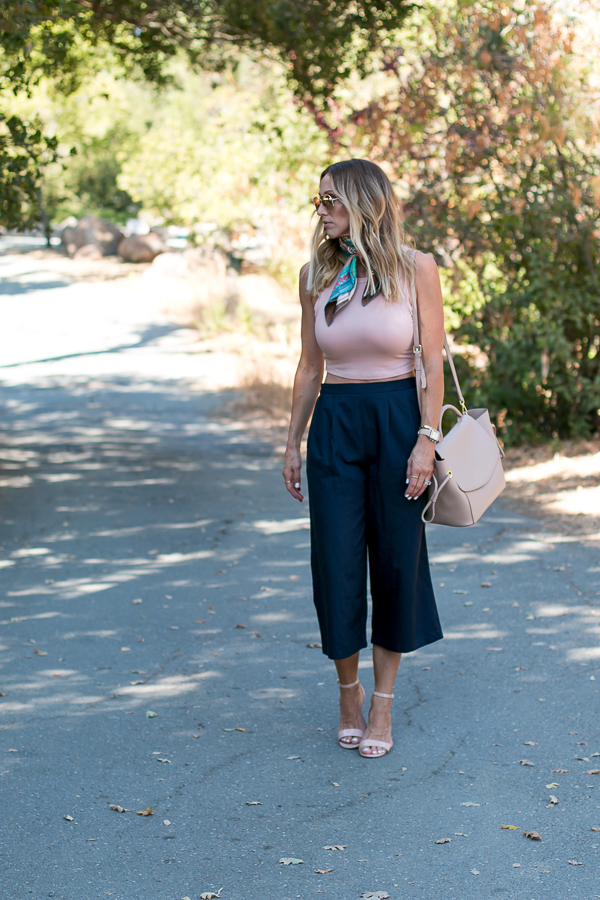 blush and navy outfit