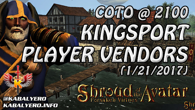 Kingsport Player Vendors, COTO @ 2100g (1/21/2017) 💰 Shroud Of The Avatar Market Watch