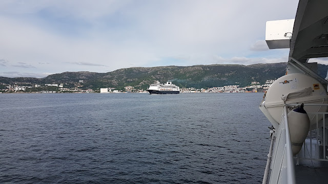Holland America cruise ship Rotterdam departing Bergen, Norway; Fjords cruise; Ships in Bergen