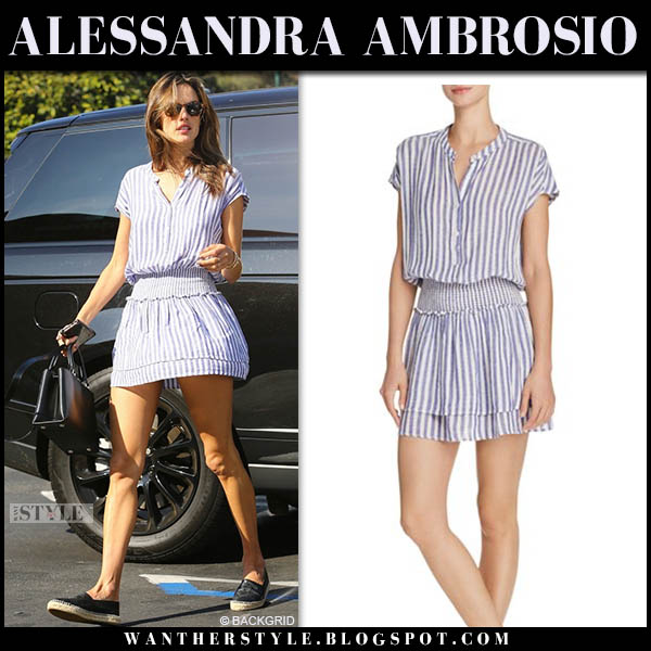 Alessandra Ambrosio in striped mini rails dress and black chanel espadrilles model street style november 17