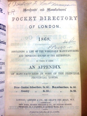 Merchants' and Manufacturers' Pocket Directory of London, title page