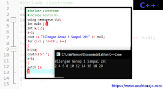 Contoh Program Deret Bilangan Genap 1 - 20 C++
