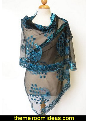 Peacocks Sequined Scarf  Beautiful Designs Elegant  Fashion Peacock  Fashion style clothing - cute designs - modern woman dress style - pretty fashion vintage style - fashion boutique - dresses - tops - jackets -  jeans - pants - party dress - womens clothes - girls clothes - Scarf necklace - decorate yourself